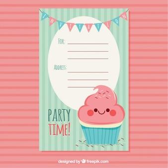 Mooie retro verjaardagskaart met heerlijke cupcake