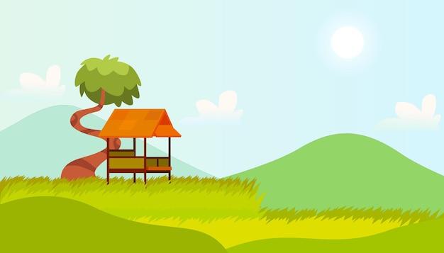 Mooie rijstveld achtergrond premium vector geschikt voor meerdere doeleinden