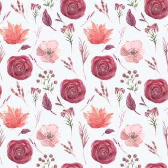 Mooie rode bloem aquarel monsters patroon