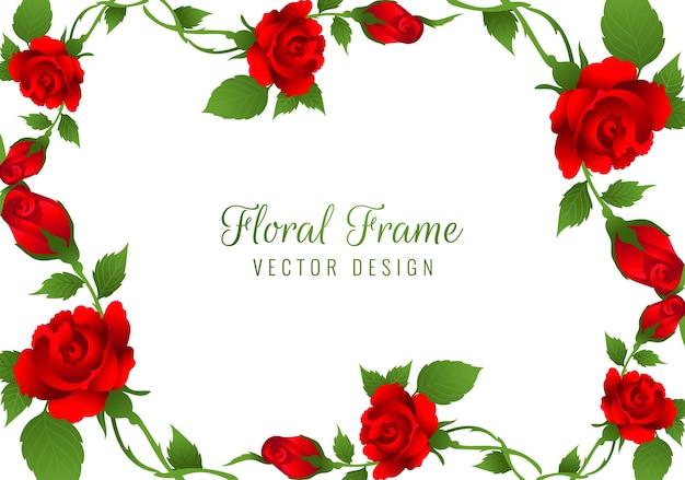 Mooie rode roos bloem frame achtergrond