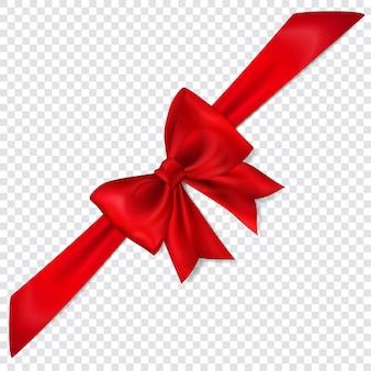 Mooie rode strik met diagonaal lint met schaduw op transparante achtergrond