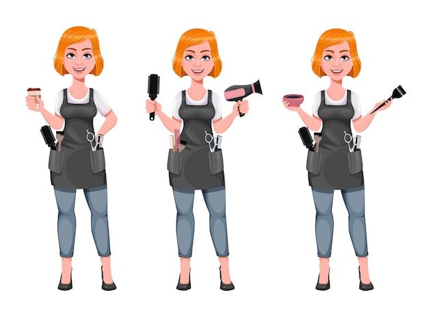 Mooie roodharige meisje kapper, set van drie poses