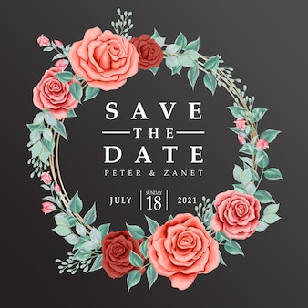 Mooie roos bloemen huwelijk uitnodigingskaart bewerkbare sjabloon
