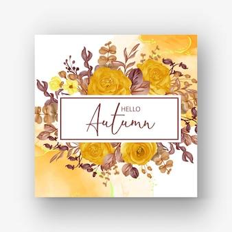 Mooie roos frame hallo herfst achtergrond
