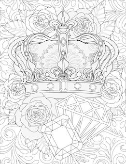Mooie royaltykroon met juweelornamenten naast grote diamanten edelstenen bloemachtergrond