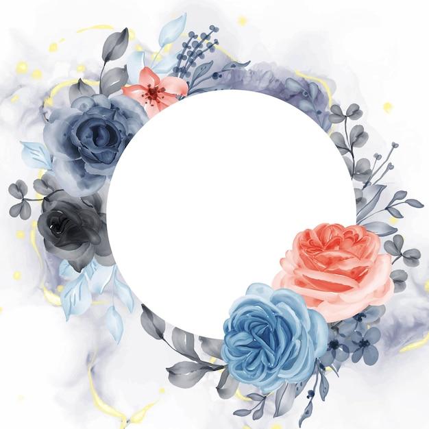 Mooie roze blauw oranje frame achtergrond met witte ruimte cirkel