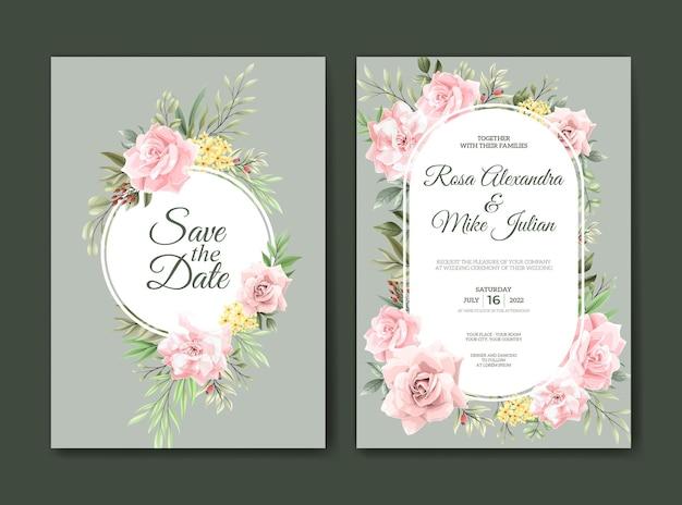 Mooie roze bloem aquarel bruiloft uitnodiging sjabloon