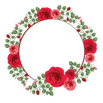Mooie roze bloem bloemen krans circle frame flat