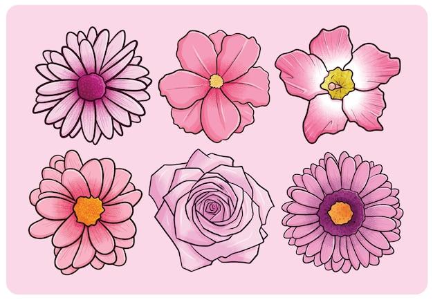 Mooie roze bloemencollectie in cartoonstijl