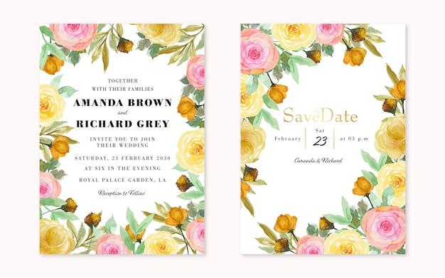 Mooie roze en gele rustieke bloemen bruiloft uitnodiging set