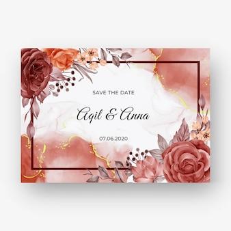 Mooie roze herfst herfst frame achtergrond voor huwelijksuitnodiging