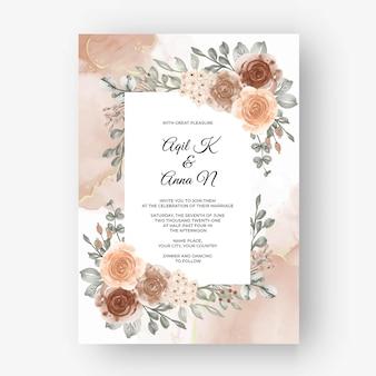 Mooie roze kaderachtergrond voor huwelijksuitnodiging met beige zachte pastelkleur