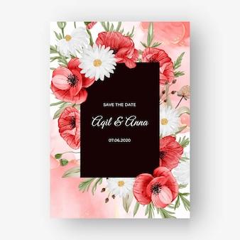 Mooie roze kaderachtergrond voor huwelijksuitnodiging met rode papaverbloem
