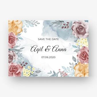 Mooie roze kaderachtergrond voor huwelijksuitnodiging met zachte pastelkleurherfst