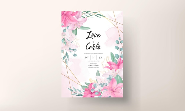 Mooie roze lelie bloem bruiloft uitnodigingskaart