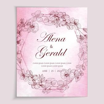 Mooie roze lijn kunst bloem aquarel achtergrond bruiloft kaart uitnodiging
