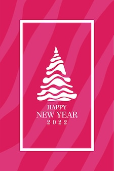 Mooie roze nieuwjaarsachtergrond wit frame en witte gestileerde letters