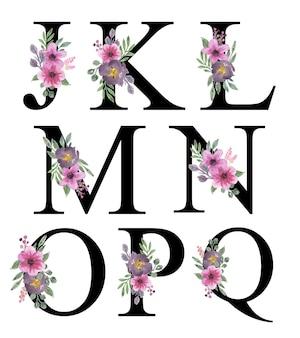 Mooie roze paarse bloemen aquarel alfabet ontwerp j - q bewerkbaar