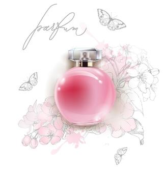 Mooie roze parfumfles met een delicate apple bloemen en vlinders vector sjabloon