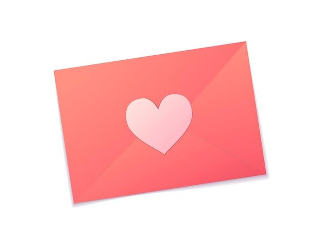 Mooie roze romantische envelop valentine geïsoleerd op wit