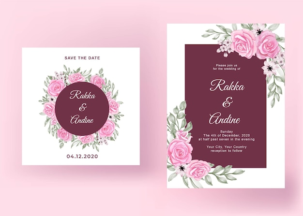 Mooie roze roos bruiloft kaartsjabloon