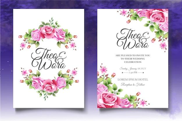 Mooie roze rozen bruiloft uitnodiging kaartsjabloon