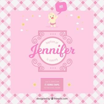 Mooie roze uitnodiging voor de doop