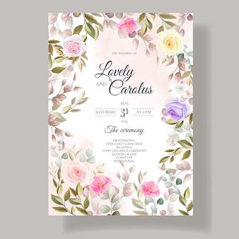 Mooie rozen bloem uitnodiging kaartsjabloon ontwerpen