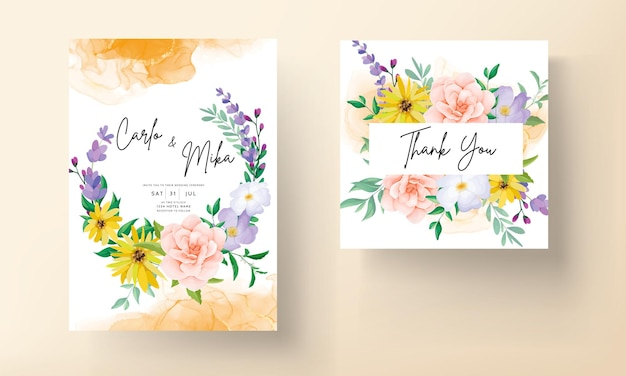 Mooie rozen en wilde bloemen bruiloft uitnodigingskaart
