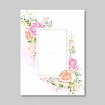 Mooie rozen lege kaart in aquarel