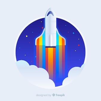 Mooie ruimteraket met plat ontwerp