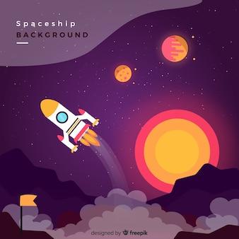Mooie ruimteschipachtergrond met vlak ontwerp