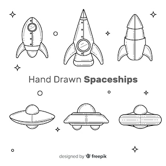 Mooie ruimteschipcollectie met hand getrokken stijl