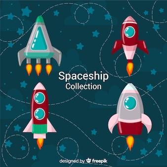 Mooie ruimteschipcollectie met plat ontwerp