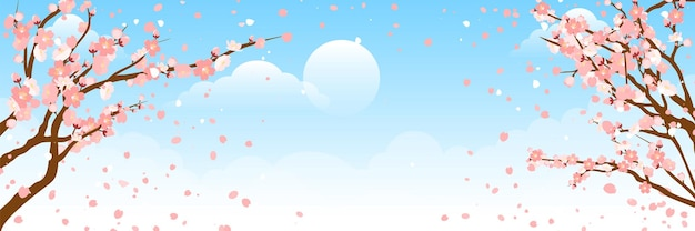 Mooie sakurabloem (kersenbloesem) in het voorjaar. sakura boom bloem op blauwe hemel met onscherpte licht bokeh.