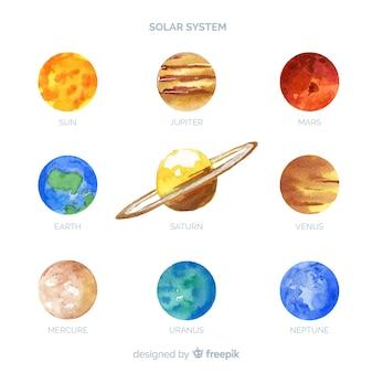 Mooie samenstelling van het aquarel zonnestelsel