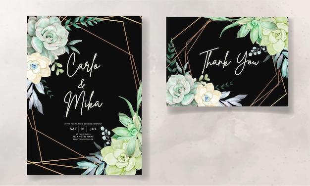 Mooie sappige bloem aquarel bruiloft uitnodigingskaarten set