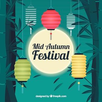 Mooie scène met lichten, midden herfstfestival
