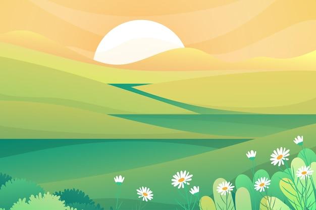 Mooie scène van de natuur met de zon die 's ochtends boven de berg opkomt, landschapsillustratie