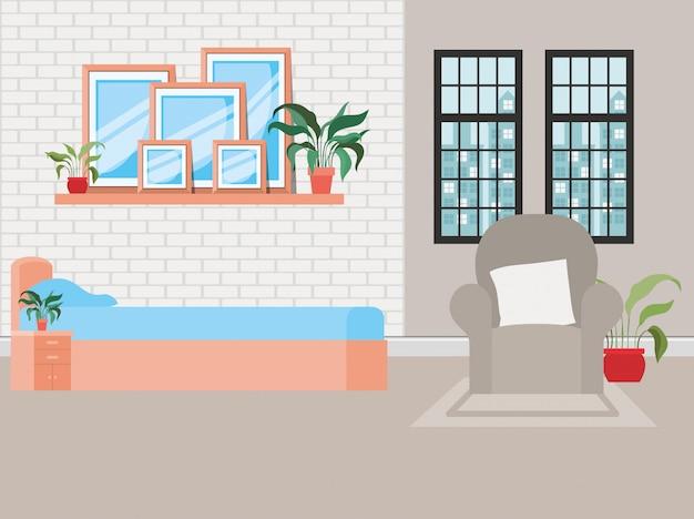 Mooie scène van het huis van de bedruimte