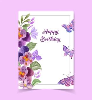 Mooie schattige gelukkige verjaardagskaart met bloemendecoratie