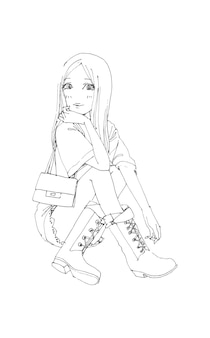 Mooie schattige meisjes met de hand getekend gelukkig jong meisje tiener cartoon doodle vrouwen geïsoleerde illustratie Premium Vector