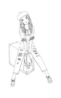 Mooie schattige meisjes met de hand getekend gelukkig jong meisje tiener cartoon doodle vrouwen geïsoleerde illustratie