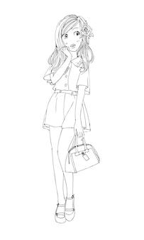 Mooie schattige meisjes met de hand getekend gelukkig jong meisje tiener cartoon doodle vrouwen geïsoleerde vector
