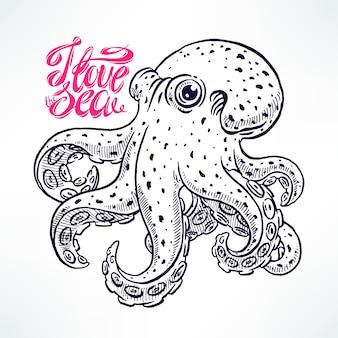 Mooie schattige schets octopus. handgetekende illustratie