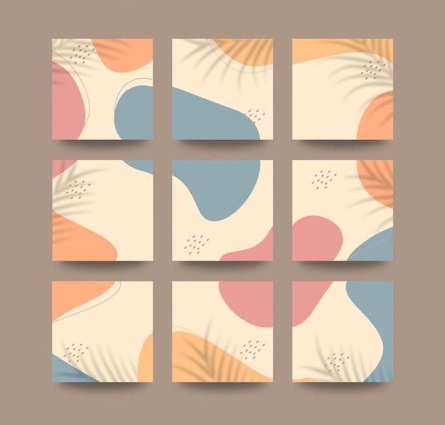 Mooie schattige sociale media plaatsen achtergrond in raster puzzelstijl