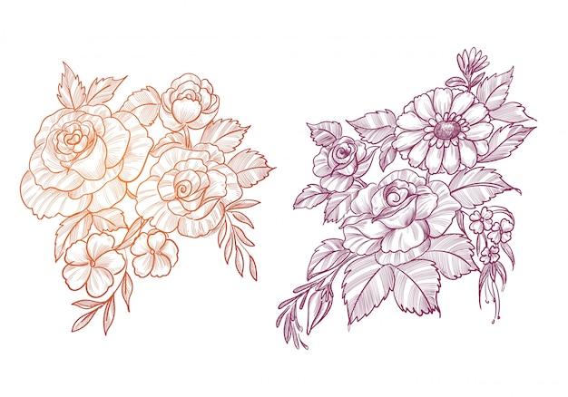 Mooie schets floral decorontwerp