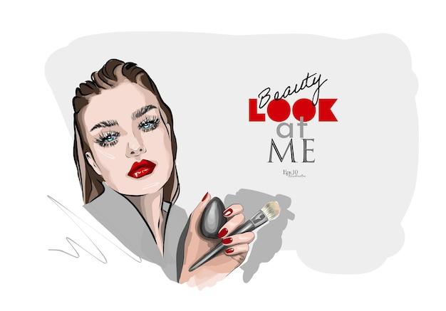 Mooie schets van mooie make-up voor ogen en lippen