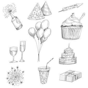 Mooie schetsen over het thema van het ontwerp van het verjaardagsfeestje