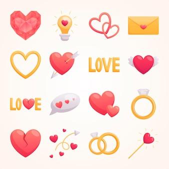 Mooie set cartoon volumetrische pictogrammen voor valentijnsdag